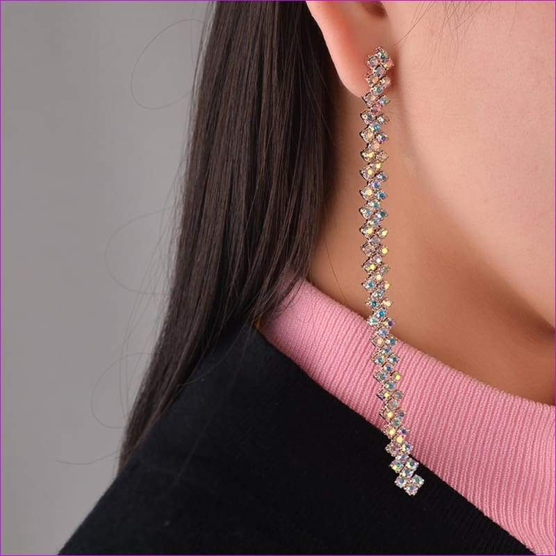 Women Long Charm Dangle Drop Earrings Gold Chain Jewelry Gift - Drop Earrings