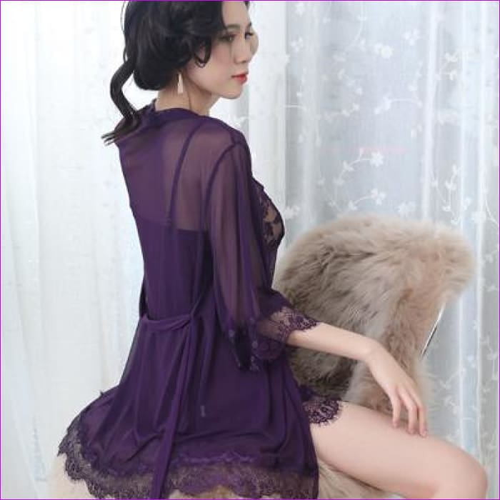 Women Nightgown With Panties Spaghetti Strap Sleepshirts Set With Lace Sleepwear - Dark Purple / L - Rob & Gown sets