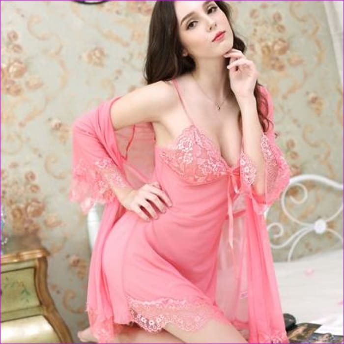 Women Nightgown With Panties Spaghetti Strap Sleepshirts Set With Lace Sleepwear - Pink / L - Rob & Gown sets
