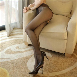 Women Open Crotch Tights Sexy Crotchless Pantyhose Glossy Collant Ouvert Femme Fantaisie Strumpfhose Lenceria Mujer - Black - Crotchless