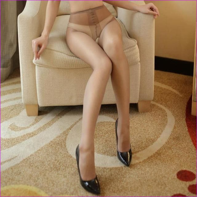 Women Open Crotch Tights Sexy Crotchless Pantyhose Glossy Collant Ouvert Femme Fantaisie Strumpfhose Lenceria Mujer - Brown - Crotchless