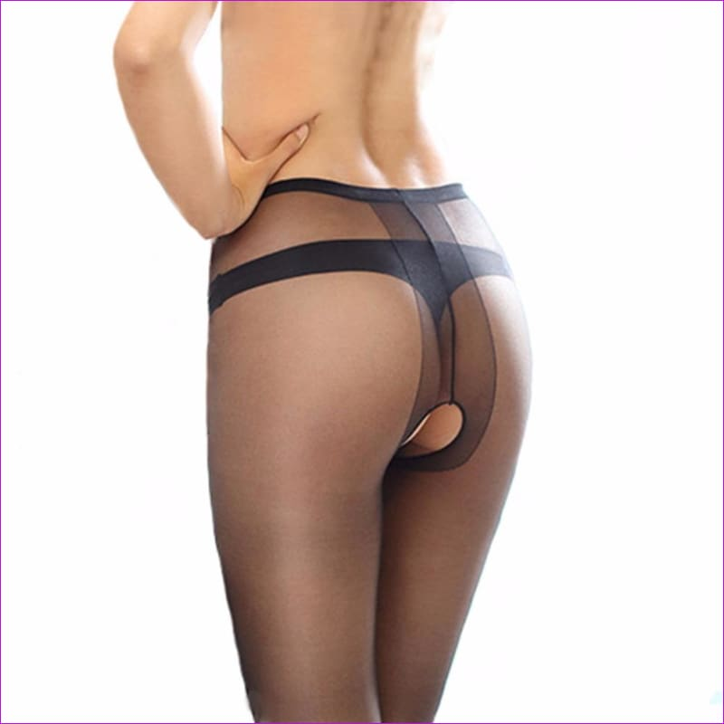 Women Open Crotch Tights Sexy Crotchless Pantyhose Glossy Collant Ouvert Femme Fantaisie Strumpfhose Lenceria Mujer - Crotchless