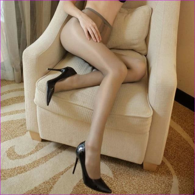 Women Open Crotch Tights Sexy Crotchless Pantyhose Glossy Collant Ouvert Femme Fantaisie Strumpfhose Lenceria Mujer - Gray - Crotchless