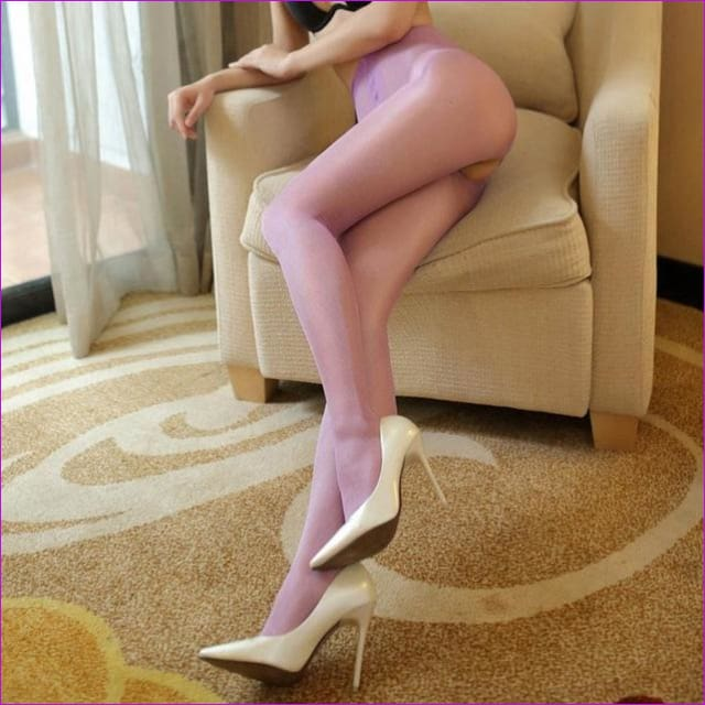 Women Open Crotch Tights Sexy Crotchless Pantyhose Glossy Collant Ouvert Femme Fantaisie Strumpfhose Lenceria Mujer - Lavender - Crotchless