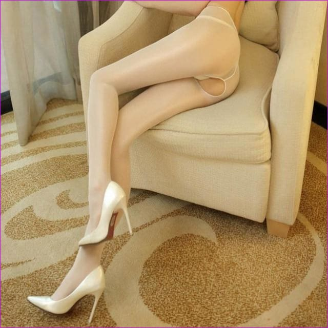 Women Open Crotch Tights Sexy Crotchless Pantyhose Glossy Collant Ouvert Femme Fantaisie Strumpfhose Lenceria Mujer - White - Crotchless