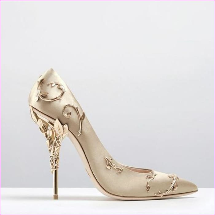 Women Pumps Pointed Toe Flower Heel Wedding Shoes Elegant Silk Design - Champagne Pumps / 3.5 - High Heel Shoes