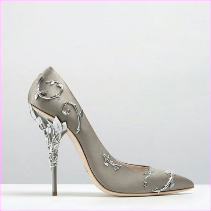 Women Pumps Pointed Toe Flower Heel Wedding Shoes Elegant Silk Design - Grey Pumps / 3.5 - High Heel Shoes