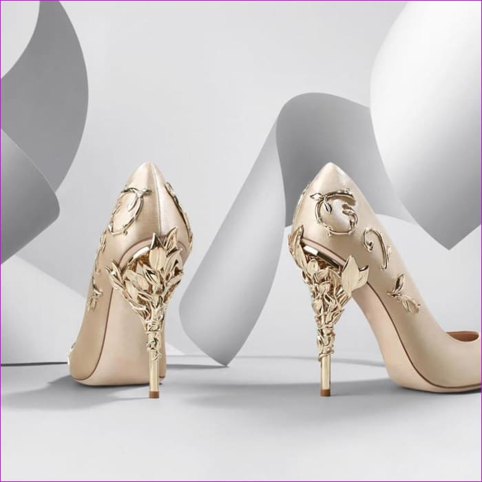 Women Pumps Pointed Toe Flower Heel Wedding Shoes Elegant Silk Design - High Heel Shoes