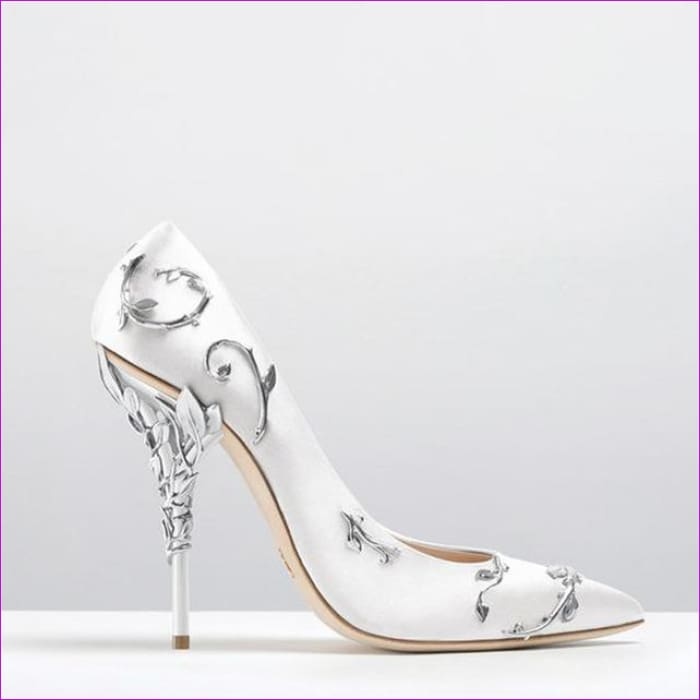 Women Pumps Pointed Toe Flower Heel Wedding Shoes Elegant Silk Design - White Pumps / 3.5 - High Heel Shoes
