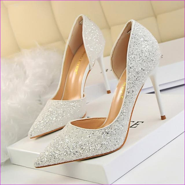 Women Pumps Sexy Glisten Women Shoes Wedding Party Dress Heels Women Hollow Shallow Mouth High Heels Stiletto 868-8 - White / 4.5