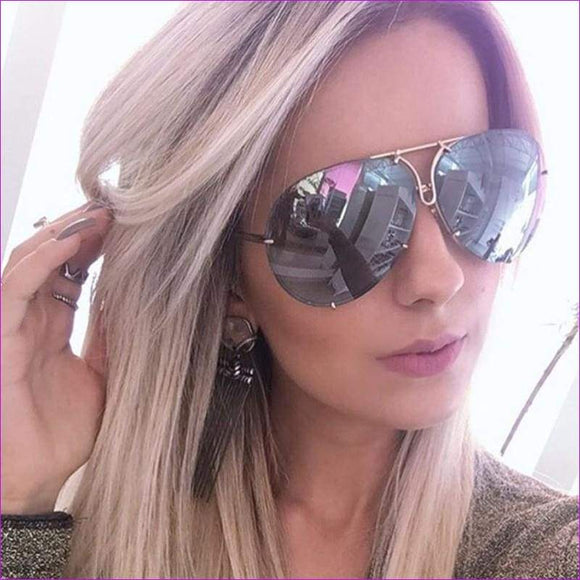 Women Retro Classic Oval Sunglasses Coating Mirror Lens Shades Oculos - Sun Glasses