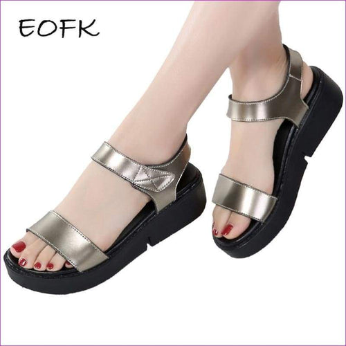 Women Sandals Comfortable Leather Flat Comfort Sandals Lady Shoes Woman Golden Punk Sandalias - Sandals
