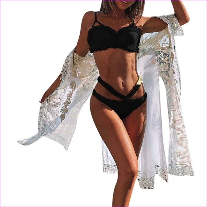 Women Solid Bikini Set Push-Up Bra Beach Swimwear Beachwear Swimsuit - Black / L - Bikini Sets