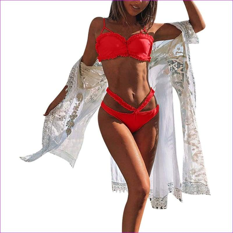 Women Solid Bikini Set Push-Up Bra Beach Swimwear Beachwear Swimsuit - Red / L - Bikini Sets
