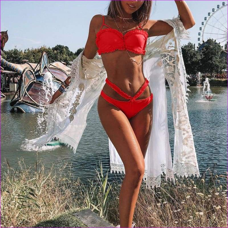 Women Solid Bikini Set Push-Up Bra Beach Swimwear Beachwear Swimsuit - Bikini Sets
