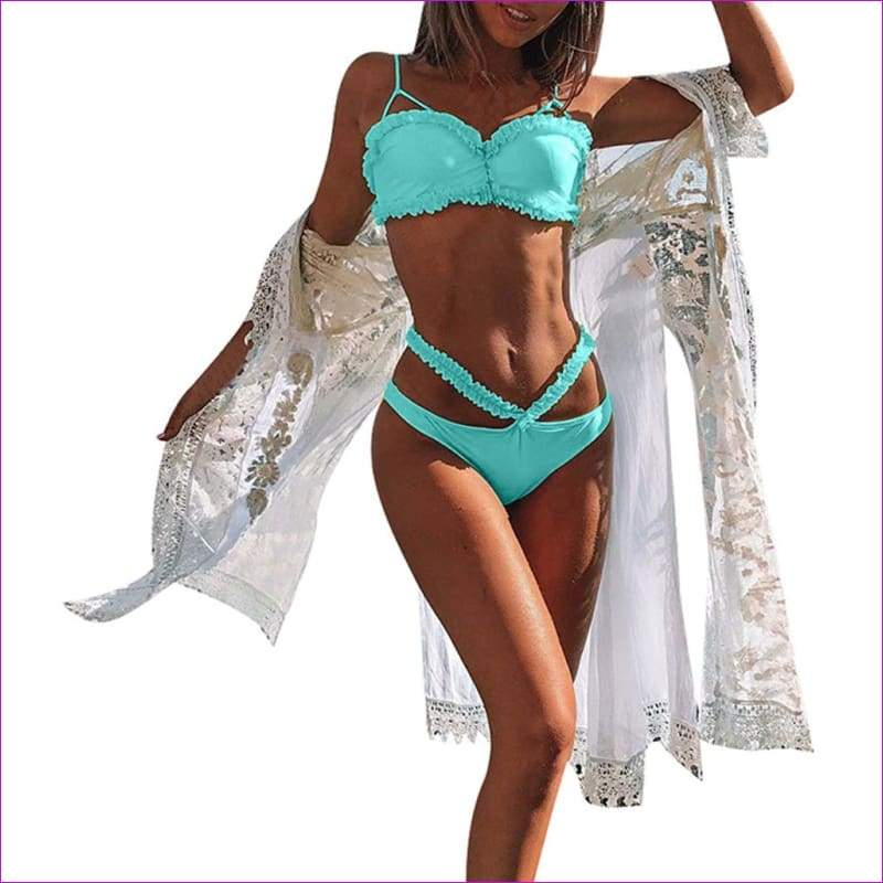 Women Solid Bikini Set Push-Up Bra Beach Swimwear Beachwear Swimsuit - Sky Blue / L - Bikini Sets