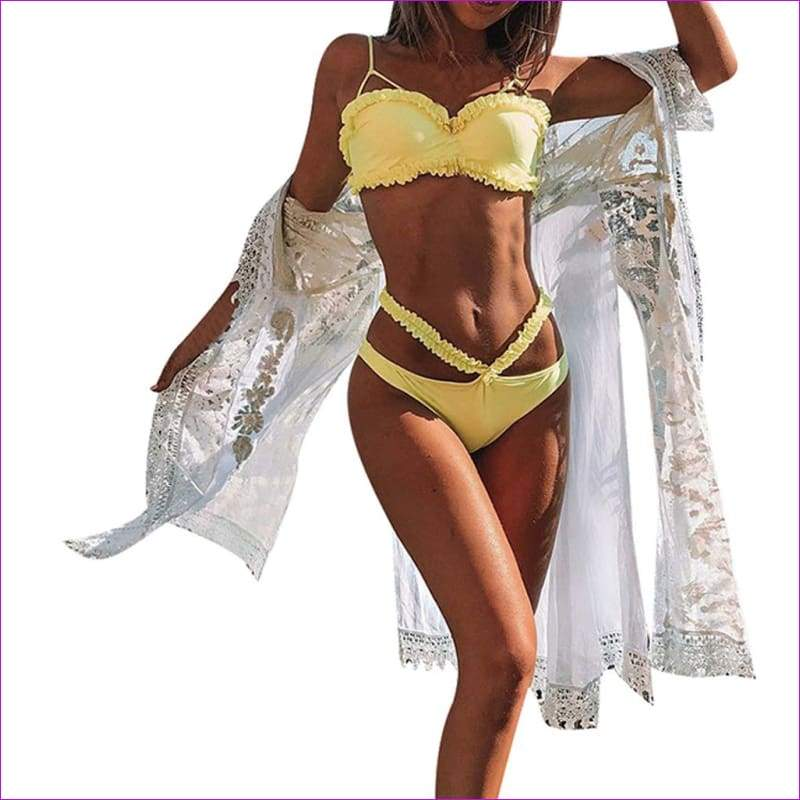 Women Solid Bikini Set Push-Up Bra Beach Swimwear Beachwear Swimsuit - Yellow / L - Bikini Sets