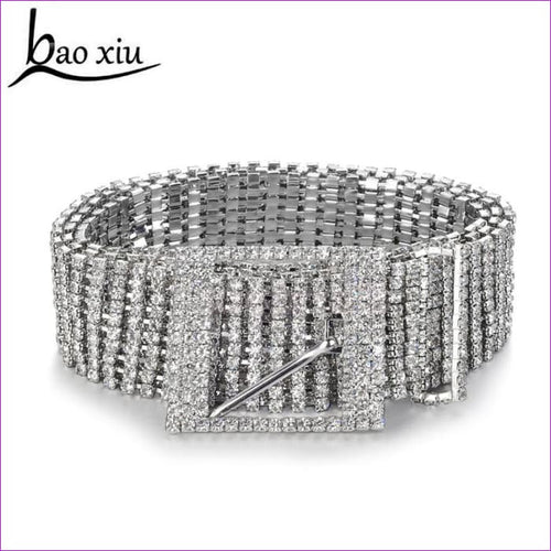 Womens Diamante crystal Chain Belt Full Rhinestone bride wide Bling Female Crystal Waist Belt accessories - Womens Belts Womens Belts