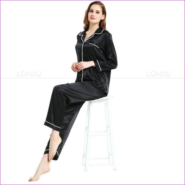 Womens Silk Satin Pajamas Pyjamas Set Sleepwear Loungewear U.S.S6 M8 M10 L12 L14 L16 L18 L20 S ~3XL Plus Size - Black / XXL - Pajama Sets