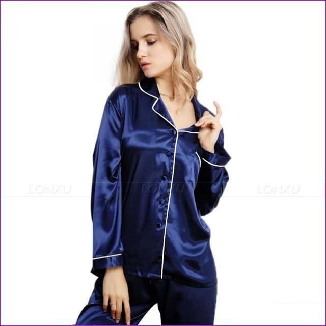 Womens Silk Satin Pajamas Pyjamas Set Sleepwear Loungewear U.S.S6 M8 M10 L12 L14 L16 L18 L20 S ~3XL Plus Size - Navy Blue / XXL - Pajama