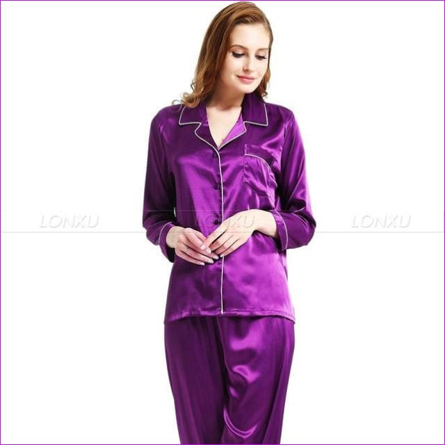 Womens Silk Satin Pajamas Pyjamas Set Sleepwear Loungewear U.S.S6 M8 M10 L12 L14 L16 L18 L20 S ~3XL Plus Size - Purple / XXL - Pajama Sets