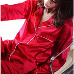 Womens Silk Satin Pajamas Pyjamas Set Sleepwear Loungewear U.S.S6 M8 M10 L12 L14 L16 L18 L20 S ~3XL Plus Size - Red / XXL - Pajama Sets
