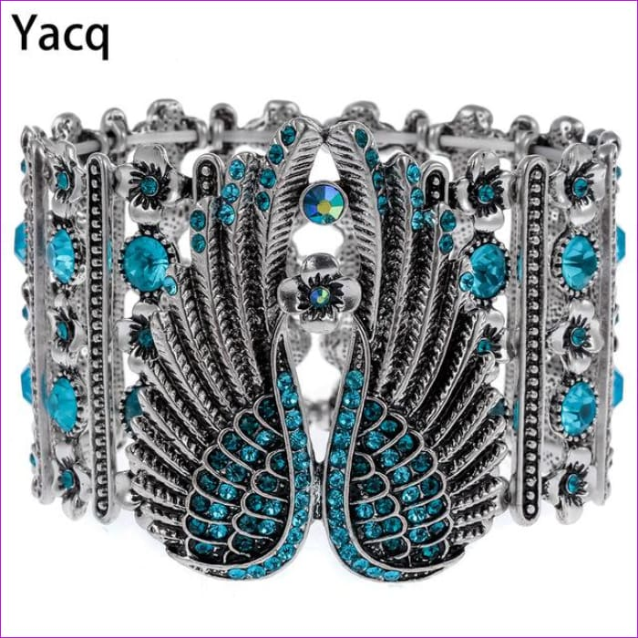 YACQ Guardian Angel Wings Stretch Cuff Bracelet for Women Biker Crystal Punk Jewelry Gift Antique Silver Color Dropshipping D05 - blue /