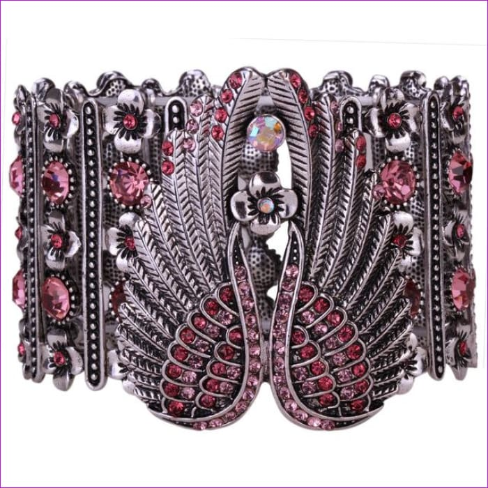 YACQ Guardian Angel Wings Stretch Cuff Bracelet for Women Biker Crystal Punk Jewelry Gift Antique Silver Color Dropshipping D05 - pink /