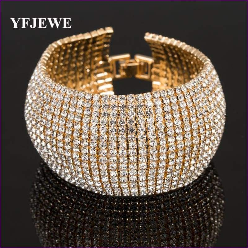 YFJEWE Fashion Full Rhinestone Jewelry for Women Luxury Classic Crystal Pave Link Bracelet Bangle Wedding Party Accessories B122