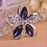 Zircon Blucome Gorgeous Blue Crystal Flower Brooch Pin Clips - blue - Brooch