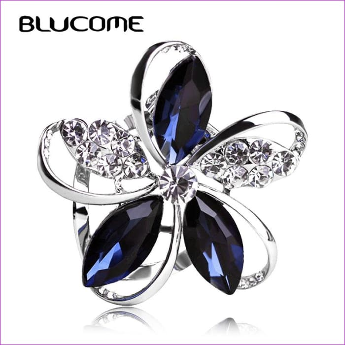 96decc760 JCBling - Zircon Blucome Gorgeous Blue Crystal Flower Brooch Pin Clips