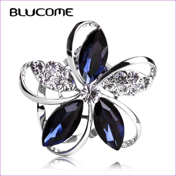 Zircon Blucome Gorgeous Blue Crystal Flower Brooch Pin Clips - Brooch