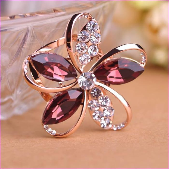 Zircon Blucome Gorgeous Blue Crystal Flower Brooch Pin Clips - purple - Brooch