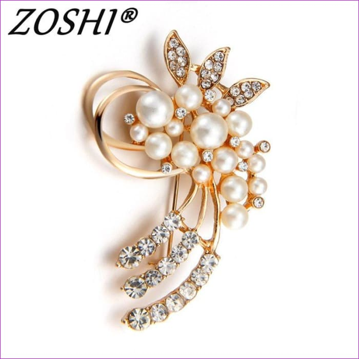 ZOSHI Fashion Jewelry High Quality Vintage Gold Brooch Pins Austria Crystals Imitation Pearl Flower Brooch Wedding Accessories - Brooch