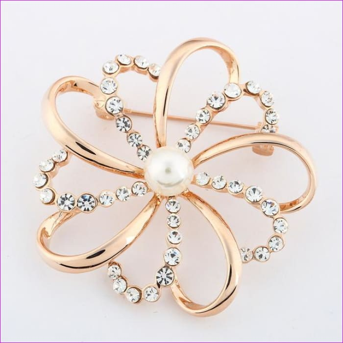 ZOSHI Fashion Jewelry High Quality Vintage Gold Brooch Pins Austria Crystals Imitation Pearl Flower Brooch Wedding Accessories - XZ045 -