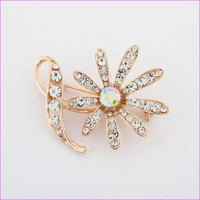 ZOSHI Fashion Jewelry High Quality Vintage Gold Brooch Pins Austria Crystals Imitation Pearl Flower Brooch Wedding Accessories - XZ046 -