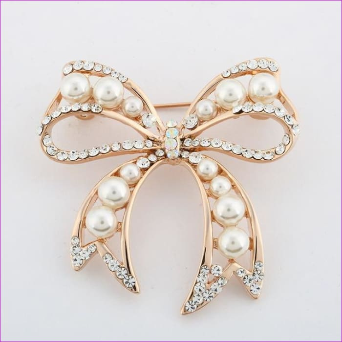 ZOSHI Fashion Jewelry High Quality Vintage Gold Brooch Pins Austria Crystals Imitation Pearl Flower Brooch Wedding Accessories - XZ052 -