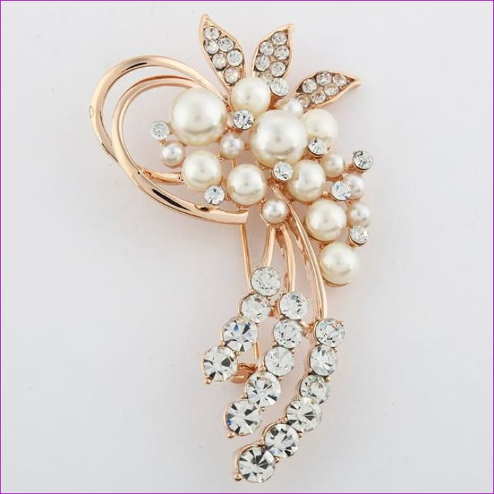ZOSHI Fashion Jewelry High Quality Vintage Gold Brooch Pins Austria Crystals Imitation Pearl Flower Brooch Wedding Accessories - XZ053 -
