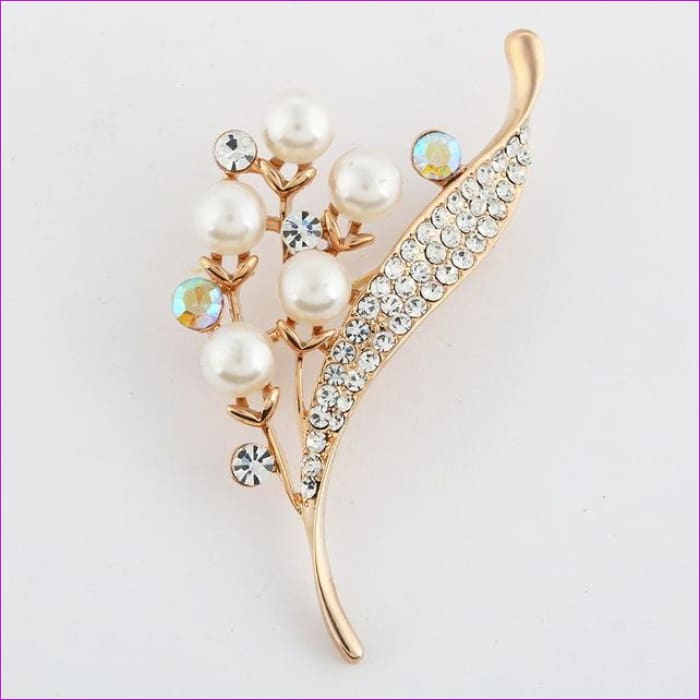 ZOSHI Fashion Jewelry High Quality Vintage Gold Brooch Pins Austria Crystals Imitation Pearl Flower Brooch Wedding Accessories - XZ054 -
