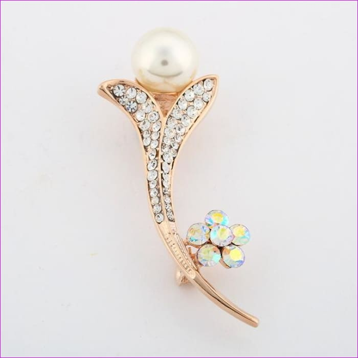 ZOSHI Fashion Jewelry High Quality Vintage Gold Brooch Pins Austria Crystals Imitation Pearl Flower Brooch Wedding Accessories - XZ057 -