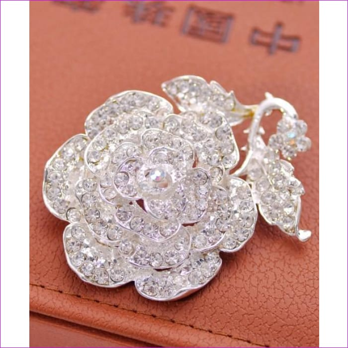ZOSHI Fashion Jewelry High Quality Vintage Gold Brooch Pins Austria Crystals Imitation Pearl Flower Brooch Wedding Accessories - XZ081 -