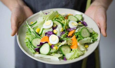 salad and protein before you go to bed. Fewer carbohydrates and more protein.