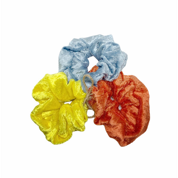 Lot de 3 Chouchous en panne de velours multicolores - Pompons et Coquillages