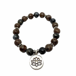 Bracelet SPIRIT Obsidienne flocon de neige & Labradorite - Pompons et Coquillages
