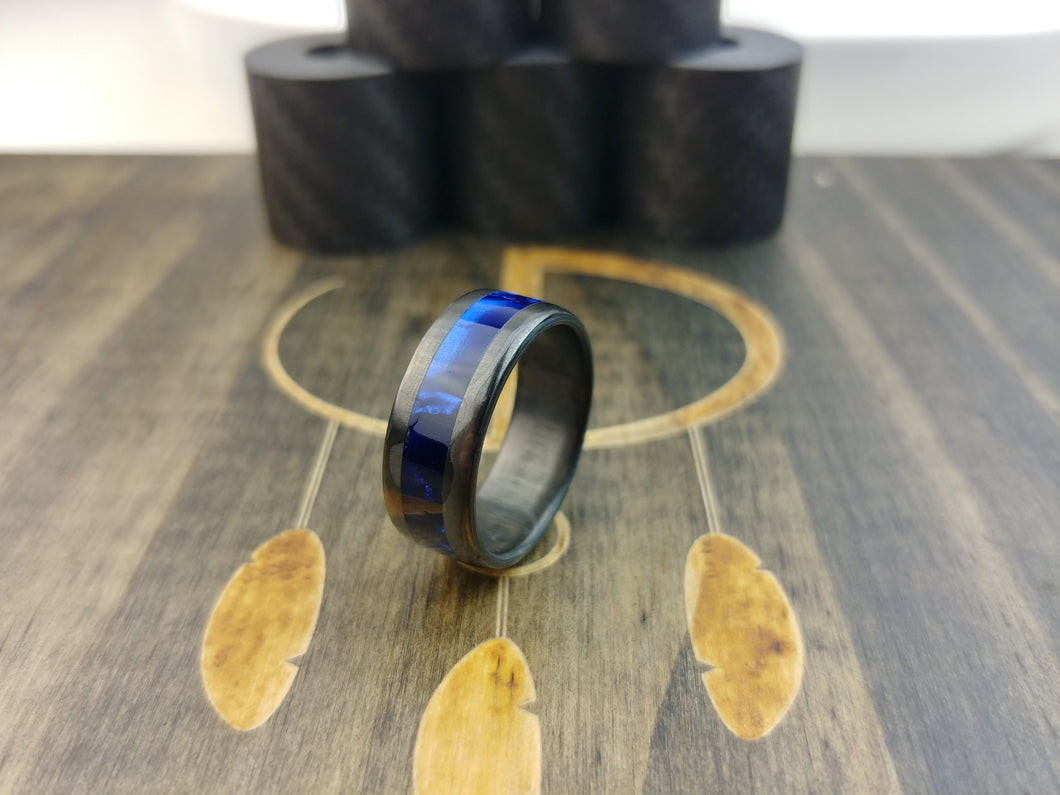 Carbon fiber with blue inlay
