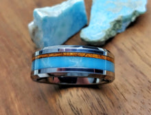 Load image into Gallery viewer, Koa wood - Larimar inlay - Tungsten ring
