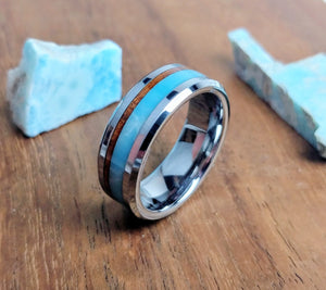 Koa wood - Larimar inlay - Tungsten ring