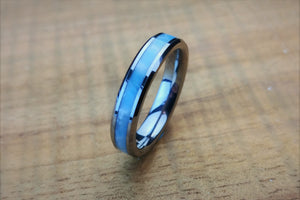 Tungsten and Larimar 4mm Band