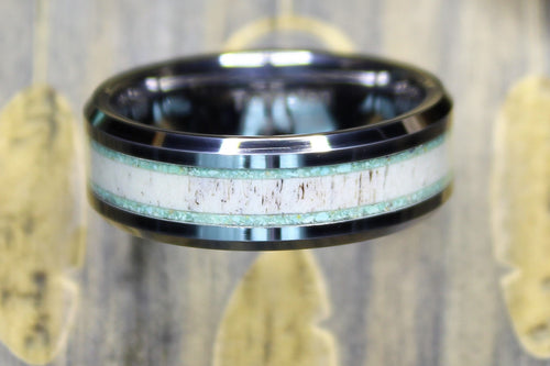 Tungsten Ring with Elk Antler and Turquoise Inlay