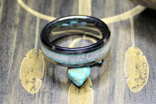 Load image into Gallery viewer, Tungsten Ring with Elk Antler and Turquoise Inlay